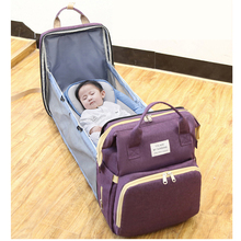 Organizer Bags Backpack Diaper Portable Folding Crib Mummy Bag Light and Large Capacity Casual Double Shoulder Maternal Baby Bag