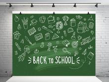 VinylBDS Green Screen Back To School Season Photography Backgrounds Blackboard  School Photo Backdrop Children Studio Backdrop