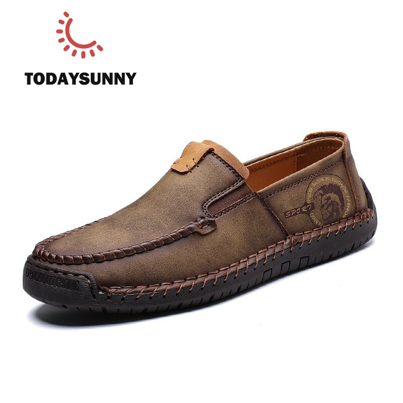 2019 New Fashion Style Leather Spring Casual Shoes Men Shoes Handmade Vintage Loafers Flats Hot Sale Moccasins Big Size 38-48