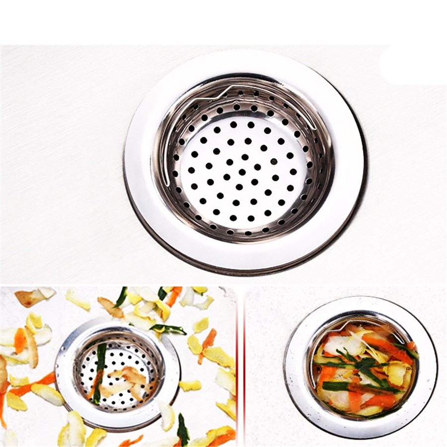 600 Pcs Kitchen Sink Strainer With Handle Stainless Steel Sink Garbage Disposal Stopper Mesh Basket Drain Filter Wholesale