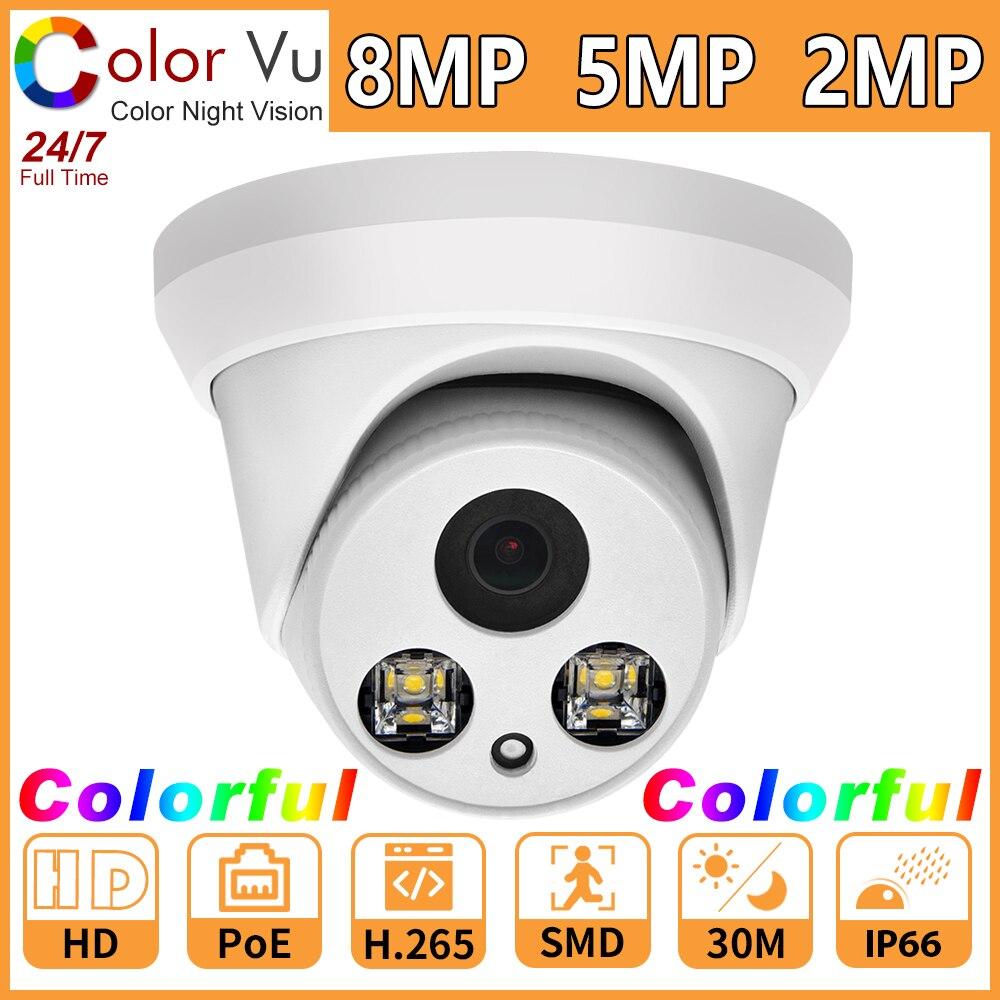 Hikvision compatível colorvu cor cheia câmera ip colorido 8mp 5mp 2mp rede cam segurança cctv poe hd 1080p onvif h.265 p2p