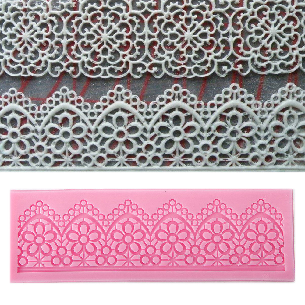 BPA Free DIY Flower Lace Silicone Cake Mold Fondant Decoration Baking Bakeware Mold Pink