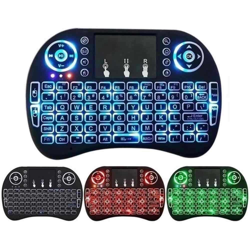 3 Warna I8 Keyboard Backlit Inggris Rusia Spanyol Air Mouse 2.4G Hz Keyboard Nirkabel Touchpad Handheld untuk TV Box PC
