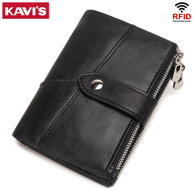 KAVIS 100% Genuine Leather Men Wallet Coin Male Purse PORTFOLIO Portomonee Money Bag Zipper Hasp Small Card Holder