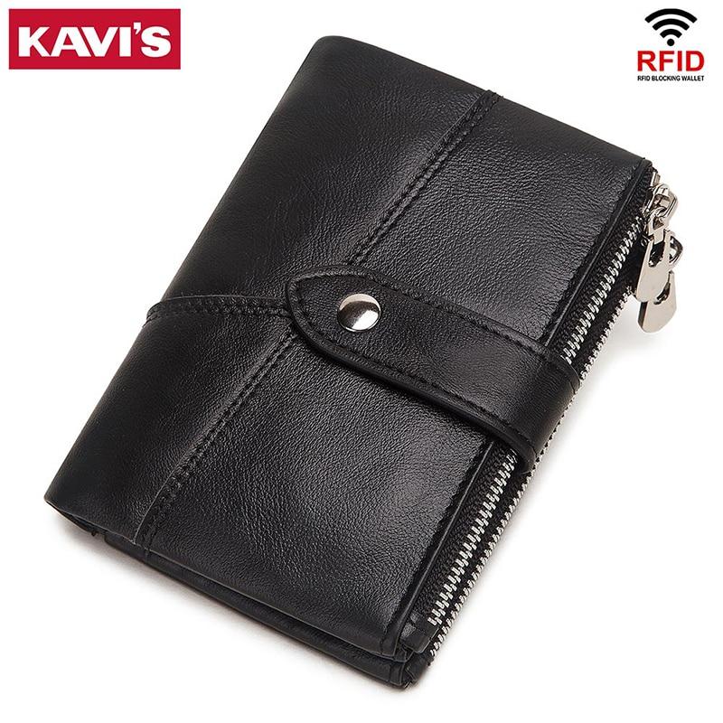KAVIS 100% Genuine Leather Men Wallet Coin Male Purse PORTFOLIO Portomonee Money Bag Zipper Hasp Small Card Holder