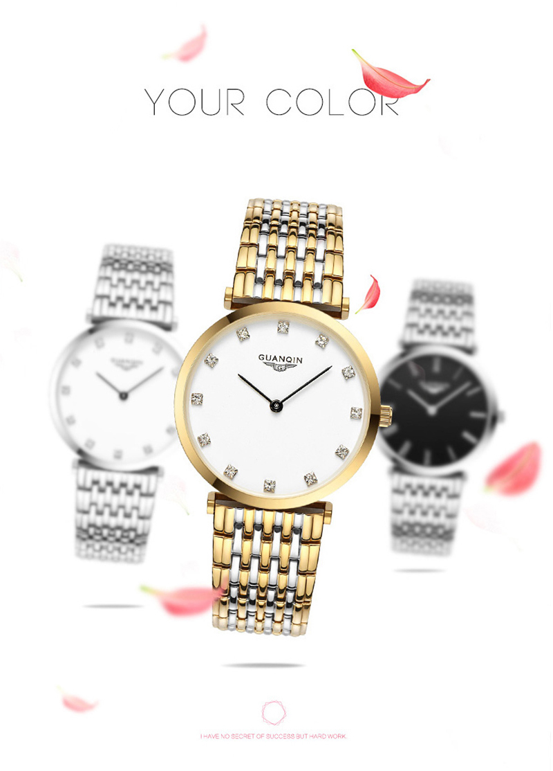 Couple Watch GUANQIN Fashion Quartz Watch Women Luxury stainless steel Quartz Watch Men's Wristwatch For lovers relogio masculin