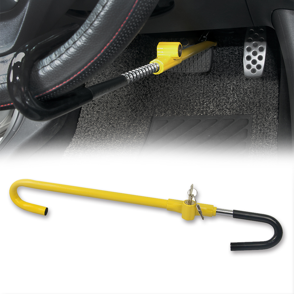 Car Steering Wheel to Brake Pedal Lock Auto Security Product Anti-Theft Lock Device Bright Yellow Universal