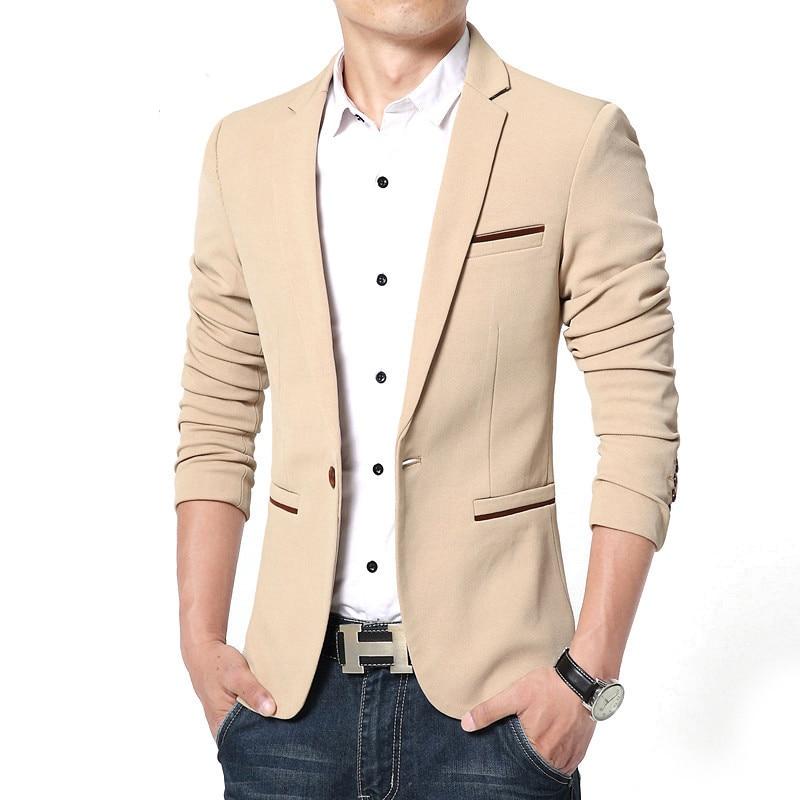 Spring Autumn Luxury Men Blazer 2020 Casual Business Cotton Slim Fit Suit Jacket Male Plus Size M-5XL Blazer Masculino