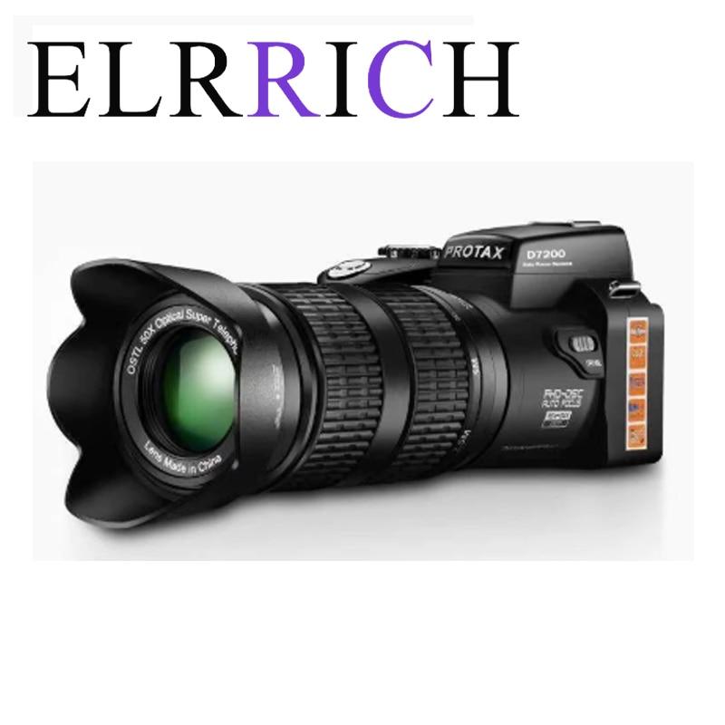 Цифровая камера ELRRICH HD D7200 PROTAX, 33 миллиона пикселей, автофокус, Профессиональная зеркальная видеокамера 24X, оптический зум, три объектива