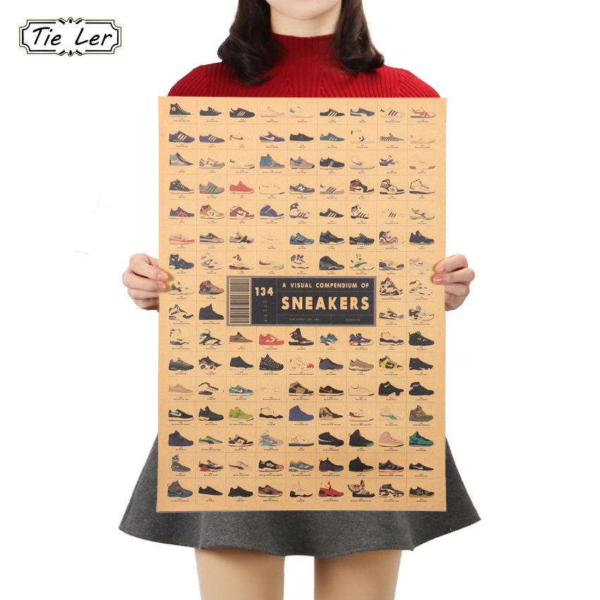 TIE LER Fashion Sneakers Kraft Paper Poster Retro Decoration Wall Stickers Living Room Room Decoration Poster 51.5x36cm