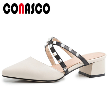 CONASCO 2020 Summer New Fashion Casual Women Genuine Leather Sandals Slippers Pumps Cross-Tied Rivets Thick Heels Shoes Woman