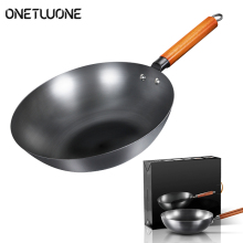 High Quality Chinese Iron Wok Traditional Handmade Iron Wok Non-stick Pan Non-coating Induction and Gas Cooker Cookware
