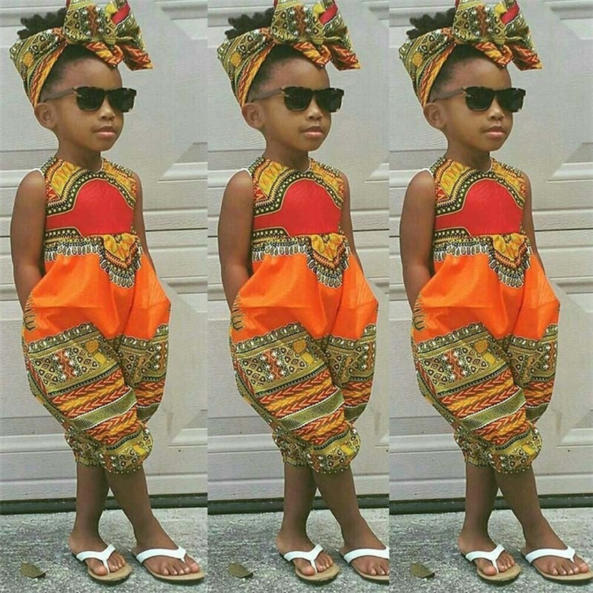 Summer African Dresses for Women Kids 2019 <font><b>News</b></font> Baby Girl Jumpsuit Print Dashiki Bazin Robe Africane Riche African Clothes image