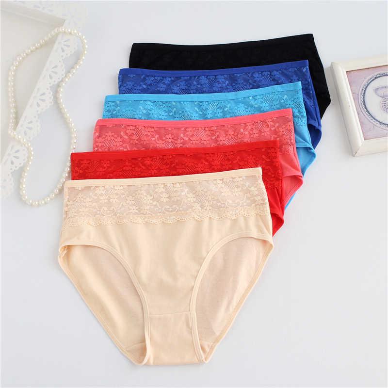 Plus ขนาดกางเกง 5XL ลูกไม้ผู้หญิงฝ้ายชุดชั้นในกางเกงขนาดใหญ่สุภาพสตรีกลางเอว Breathable กางเกง Underpants15