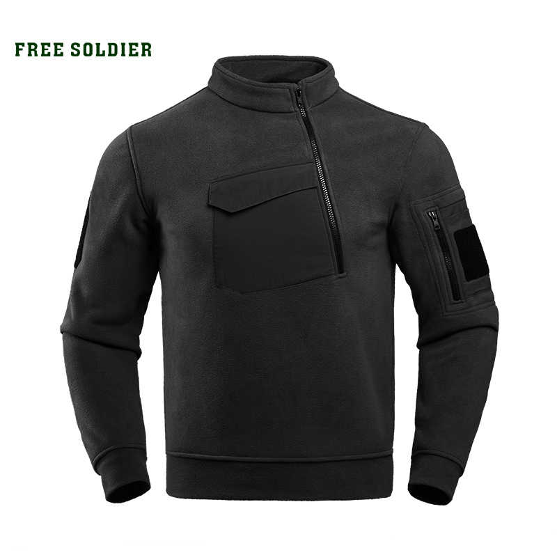 FREE SOLDIER Fleece autumn and winter outdoor men's plus velvet thickening head warm shirt fleece sweater