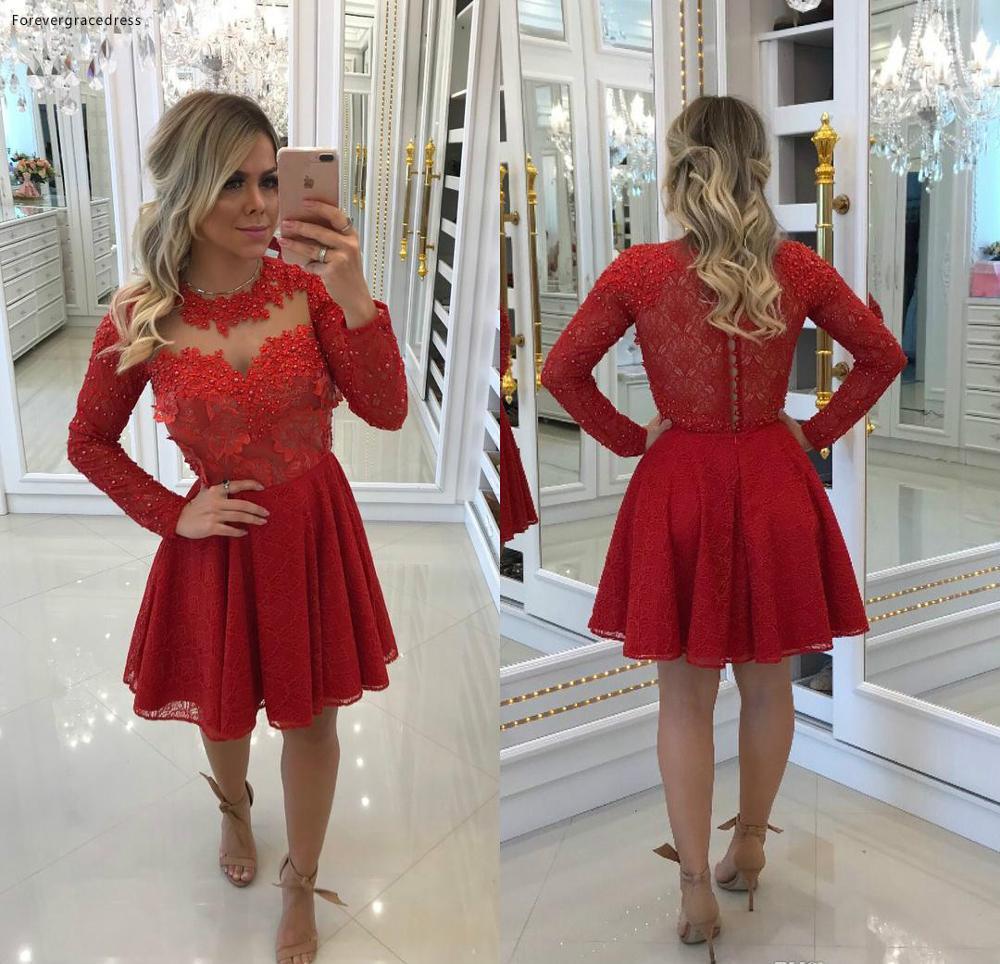 Cheap Short A Line Lace Applique Homecoming Dress Red Vintage Juniors Sweet 15 Graduation Cocktail Party Dress Plus Size