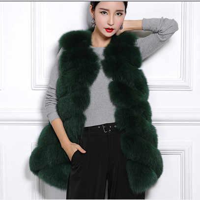 2019 осень стиль пушистый женский зимний жилет из искусственного меха длинный пушистый Роскошный тонкий меховой женский лисий меховой жилет пальто Colete De Pele V654