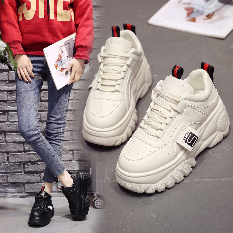 Moda Mujer Zapatillas de plataforma alta 2019 primavera Zapatos femeninos negro blanco zapatillas transpirables Zapatos Casual Mujer tamaño 35-39