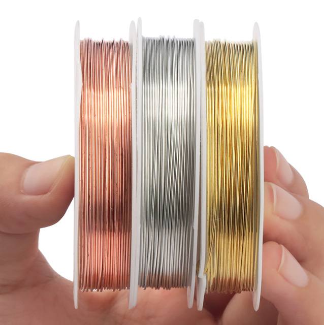 0.2-1mm silver/gold/rose gold copper wire for Bracelet Necklace DIY Colorfast Beading Wire Jewelry Cord String for Craft Making