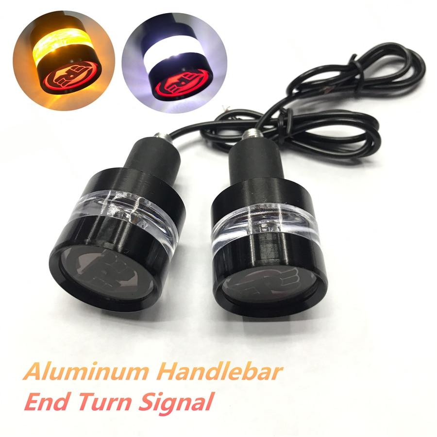 1 Pair Dual Colors Motorcycle DRL Turn Signal LED Light Indicator Blinker Handle Bar End Handlebar