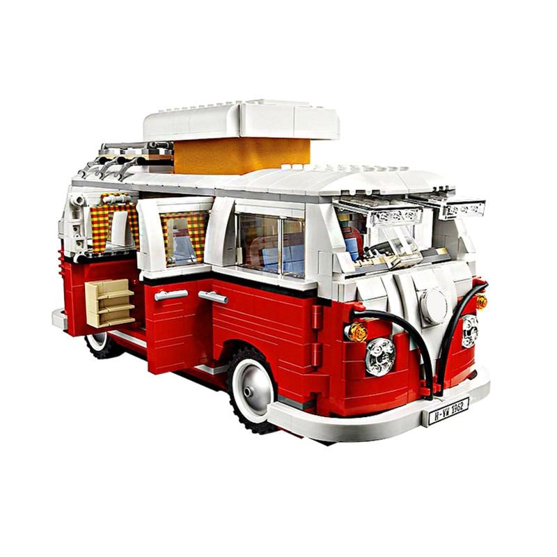 В наличии 1354 шт. автомобиль Bluding блоки VW T1 туристического автофургона блоки совместимы с LepiningTechnic идеи 10220 кирпичи игрушки 21001
