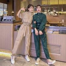Jumpsuits Women Spring Autumn Slim Long Sleeve Belt Cargo Pants Sets Overalls Fe