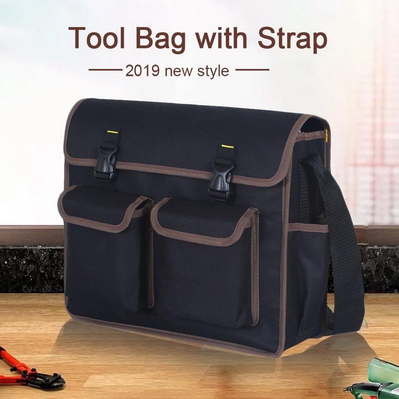 Urijk 1 Pcs Big Capacity Storage Tool Bag High Quality Toolkit Shoulder Tool Bag With Adjustable Strap Waist Pocket Case