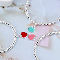 Heart Shaped 925 Sterling Silver Pendant Bracelet Design For Women Fine Jewelry Charm Brand Bracelet