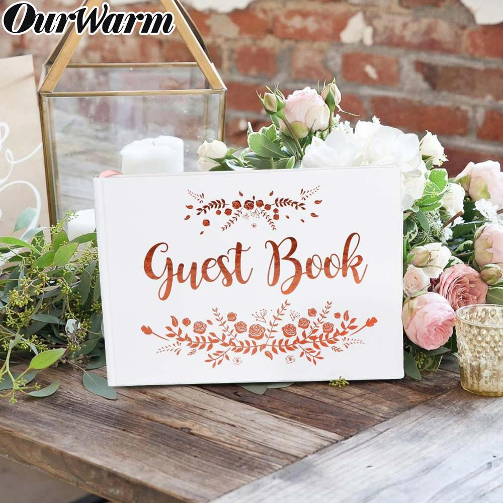Wedding Guest Book Album Photo Registry Sign-in Memory White Guest Book With Rose Gold Foil Baby Shower Birthday Guestbook