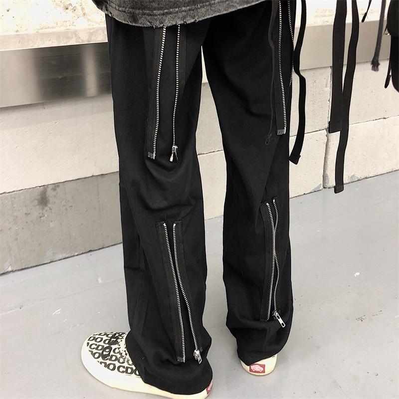 Focal20 Streetwear Solid Zipper Women Pants Casual Loose Elastic Waist Straight Leg Female Trousers Spring Autumn Lady Bottoms 2