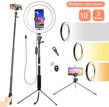 10 inch LED Selfie Ring Light with Phone Holder USB Photography Video Makeup Lamp with Selfie Stick for Youtube Live Studio