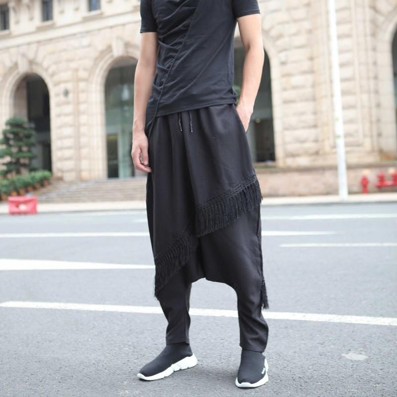 Autumn Men Harem Pants Street Style Casual Elastic Waist Baggy Trousers Personality Tassel Black Hip Hop Loose Pencil Pants M L