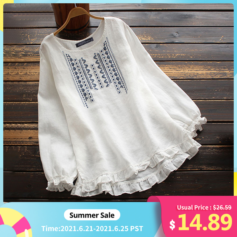 Women's Embroidery Blouse ZANZEA 2021 Vintage Spring Tops Casual Long Sleeve Shirts Female O Neck Ruffle Top Plus Size Tunic