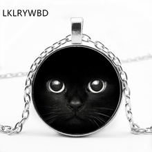 LKLRYWBD / Vintage Dark Cat Round Glass Pendant Black Face Necklace Jewelry