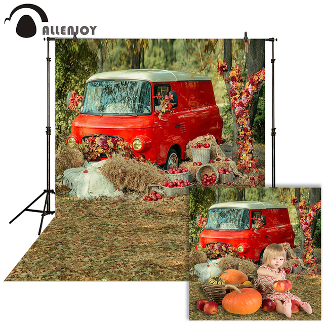 Allenjoy photography Autumn backdrop Car grass red countryside baby shower children background photo studio photocall photophone