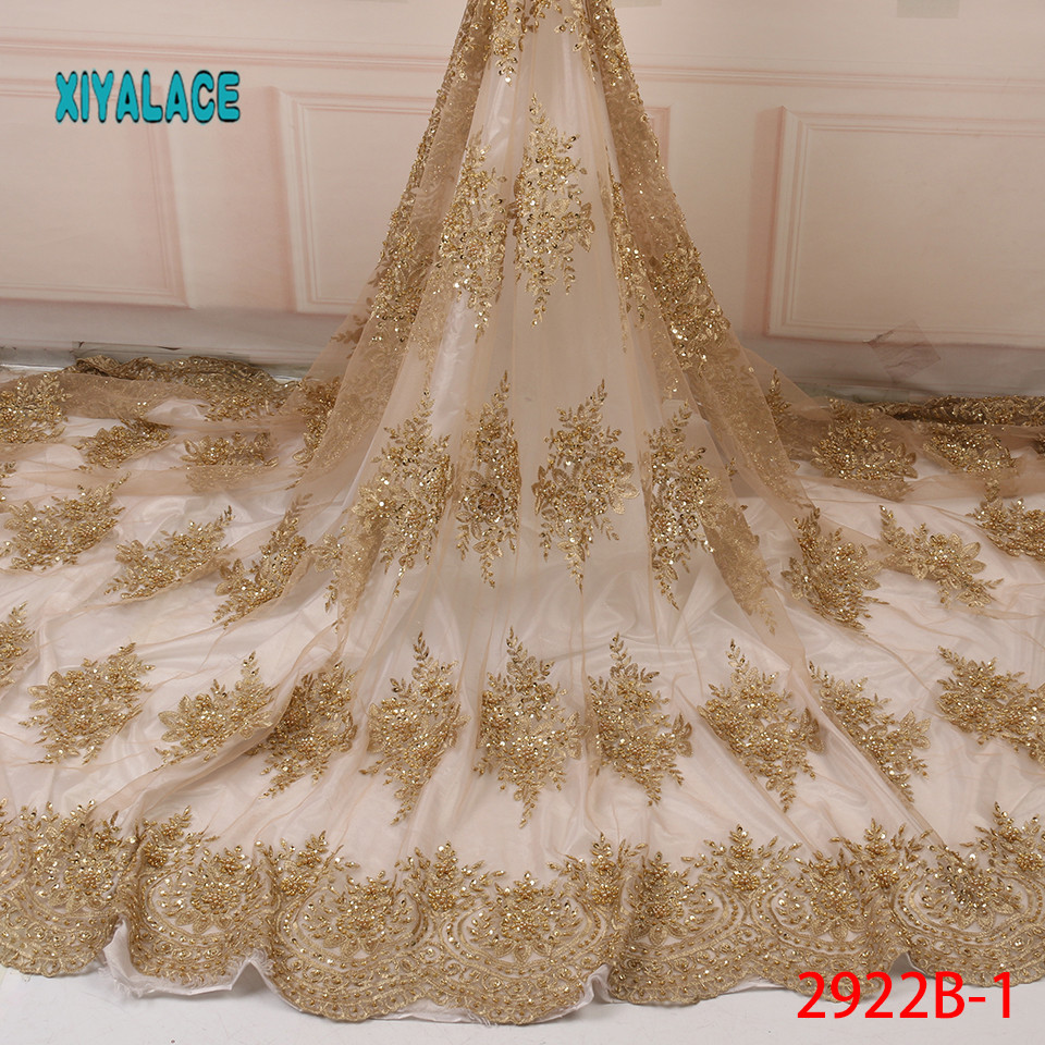 African Lace Fabric Latest High Quality 2019 Lace Embroidery French Lace Fabric Bridal Lace For Nigerian Party Dress YA2922B-1