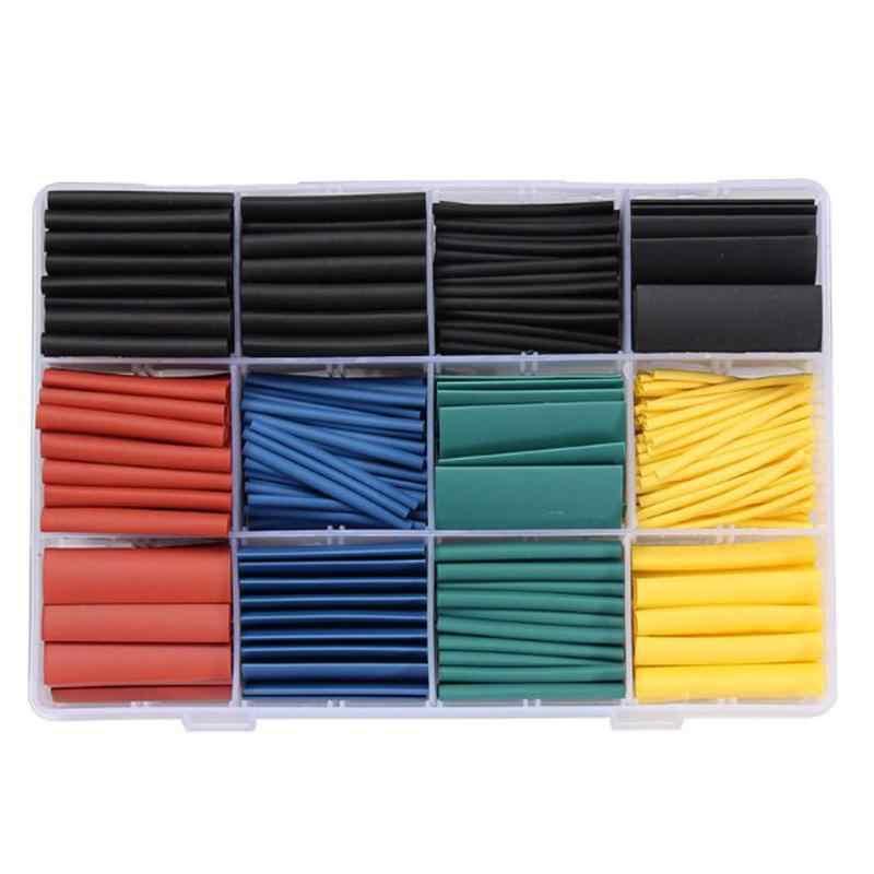 530 sztuk rurki termokurczliwe rurki termokurczliwe asortyment elektroniczny drut poliolefinowy zestaw tulei kablowych rurki termokurczliwe