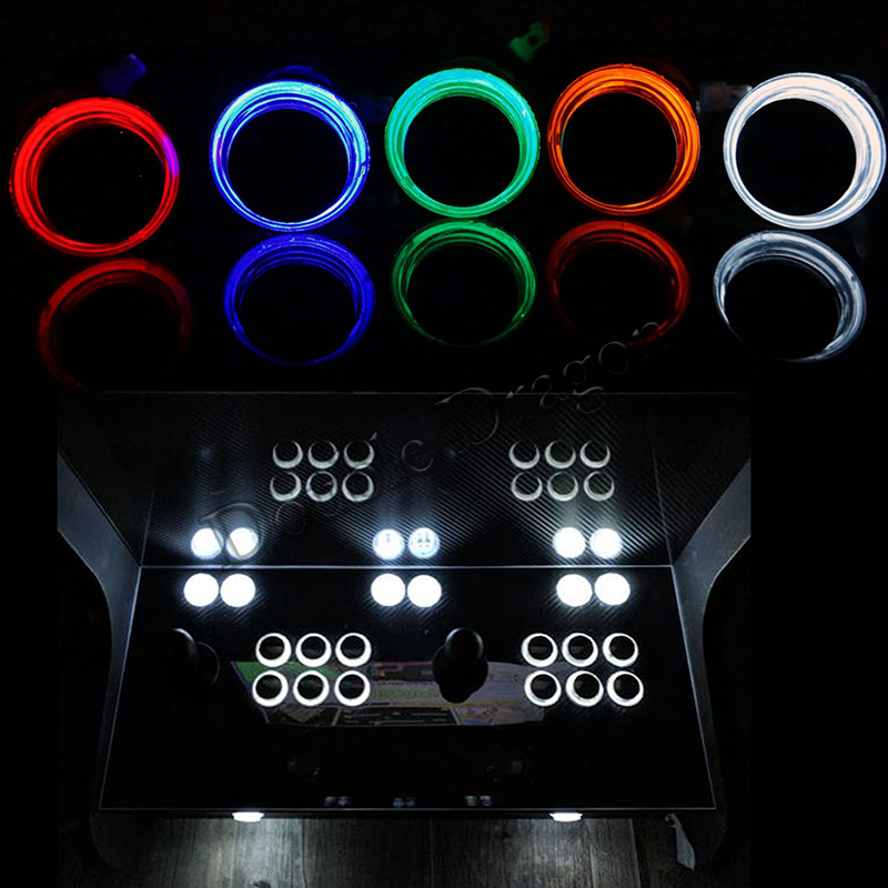 12pcs Lot Arcade Push Button Black Cover Cap 5/12V LED Illuminated 28mm Transparent Buttons With Microswitch Game Cabinet Parts