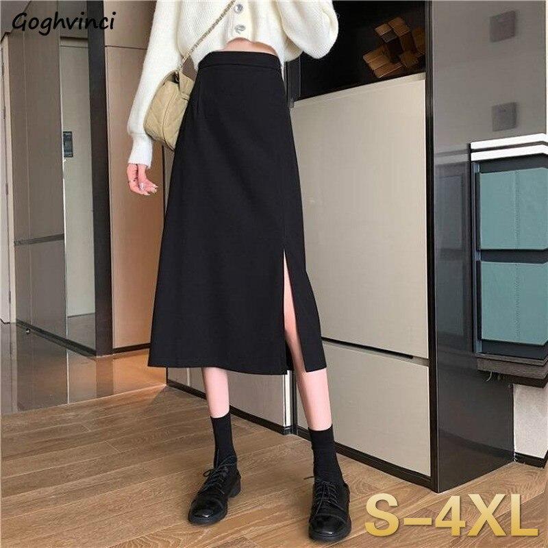 Spódnice kobiet czarny wysoka talia Side-z rozcięciem średniej długości spódnica panie rozciągliwy Body-con-line w stylu Vintage elegancki cały mecz proste moda nowy