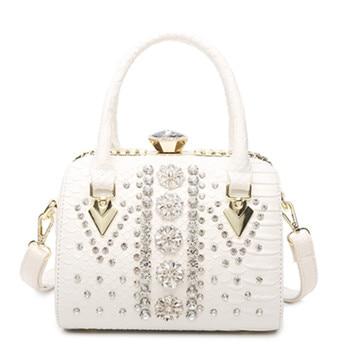luxury Women's rhinestone bag women leather handbags Female Messenger bag diamond shoulder bag ladies Snake hand bags sac a main