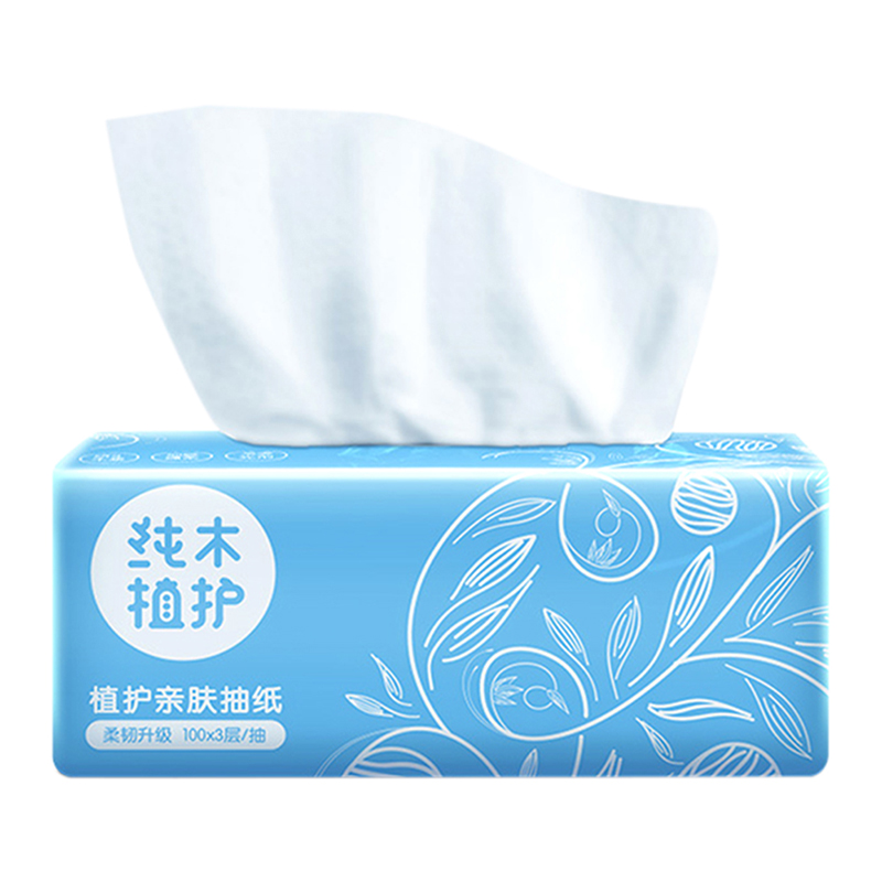 New Plant Protection Log Pumping Paper 8 Packs / Piece Of Facial Tissue 100 Pumping 3 Layers Of Home Napkins