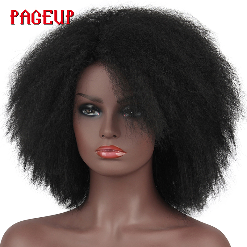 Pageup Afro Black Synthetic Short Wig Woman Red False Hair Cosplay Fluffy Short Hair Wig Curly Womens Wigs Sale For Black WomenSynthetic None-Lace  Wigs   -
