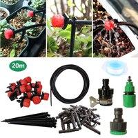 Ferramenta de jardim 20m sistema irrigação por gotejamento rega automática mangueira jardim micro gotejamento kit rega com ponta gotejamento ajustável
