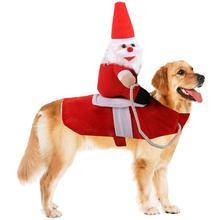Одежда Санта Клауса для верховой езды, для питомцев, Рождество, красный коралловый бархат, Забавный котенок на Хэллоуин, одежда для щенков, костюм, товары для собак, кошек