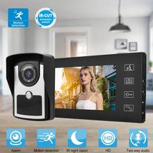 7in Wired Video Intercom Doorphone Access Door Camera Smart Doorbell with 4G Memory Card 110-240V smartyiba rfid access video door ir camera for 6 units apartment video intercom doorbell doorphone kits for house flats