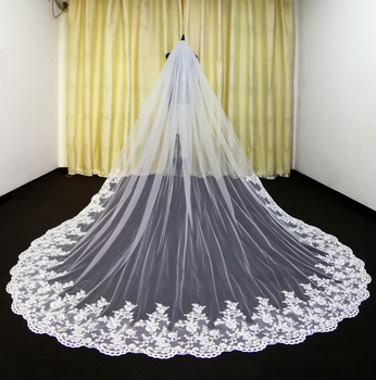 Real Photos Tulle Applique Cathedral Wedding Bride Veil White Ivory Hand Stitched Metal Comb - discount item  50% OFF Wedding Accessories