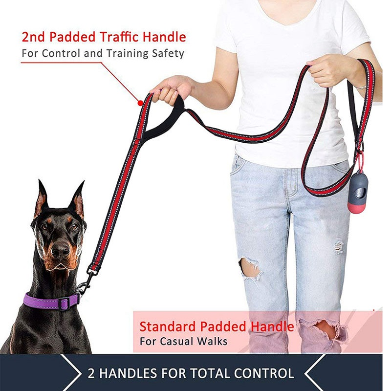Double Handle New Dog Harness Leash,5 FT Dog Leashes with Comfortable Padded ,Reflective Dog Leashes for Small Medium Large Dogs 3
