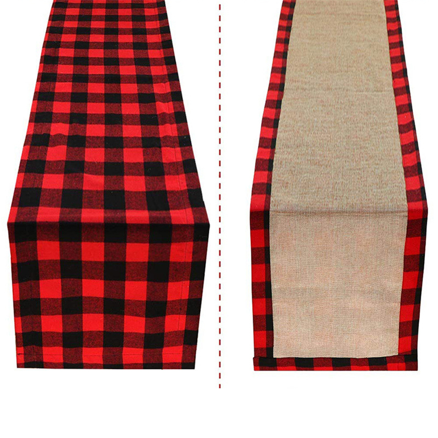 80pcs Christmas Table Runner Cotton Buffalo Check Plaid And Burlap Double Sided Table Runner For Holiday Winter Home Decorations