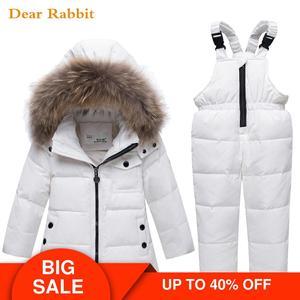 Image 1 - 2020 children autumn winter thin down jacket parka real Fur boy baby overalls kids coat snowsuit snow clothes girls clothing Set