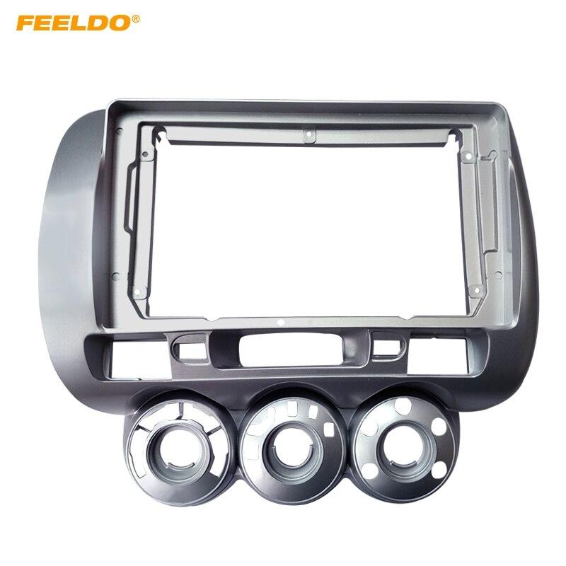 """FEELDO автомобильный стерео аудио фасции Рамка адаптер для Honda Fit городской Джаз 2006 (LHD) 9 """"2Din DVD панель рамка Установка отделка"""